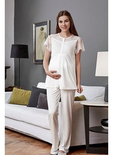 Eros Pijama Takım Ekru